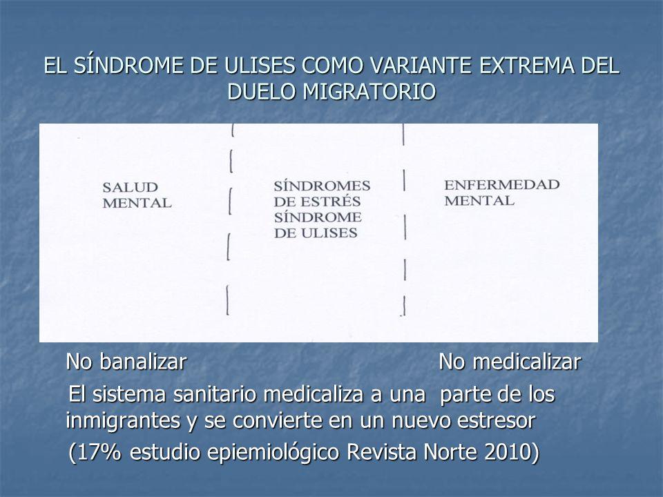 EL SÍNDROME DE ULISES COMO VARIANTE EXTREMA DEL DUELO MIGRATORIO Nno Nno No banalizar No medicalizar El sistema sanitario medicaliza a una parte de lo