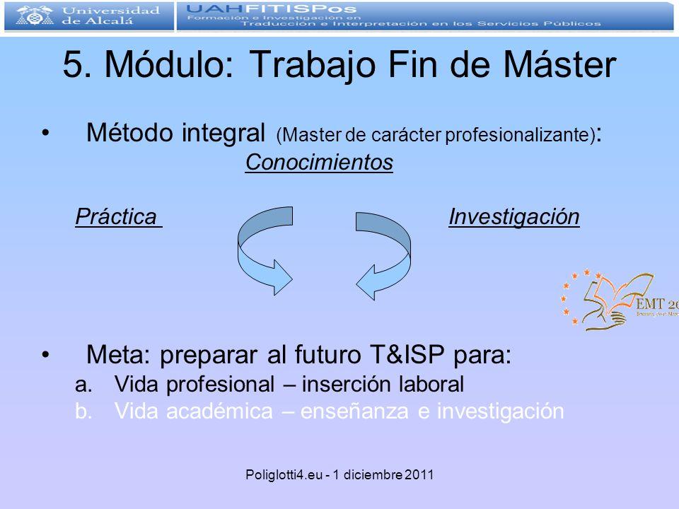 5. Módulo: Trabajo Fin de Máster Método integral (Master de carácter profesionalizante) : Conocimientos Práctica Investigación Meta: preparar al futur