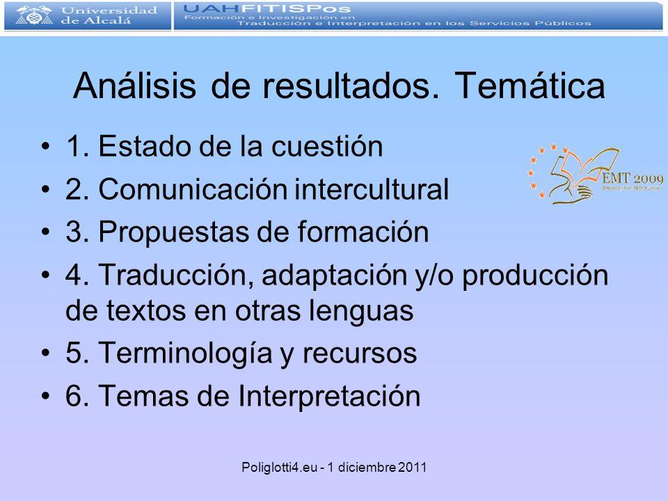 Análisis de resultados. Temática 1. Estado de la cuestión 2. Comunicación intercultural 3. Propuestas de formación 4. Traducción, adaptación y/o produ