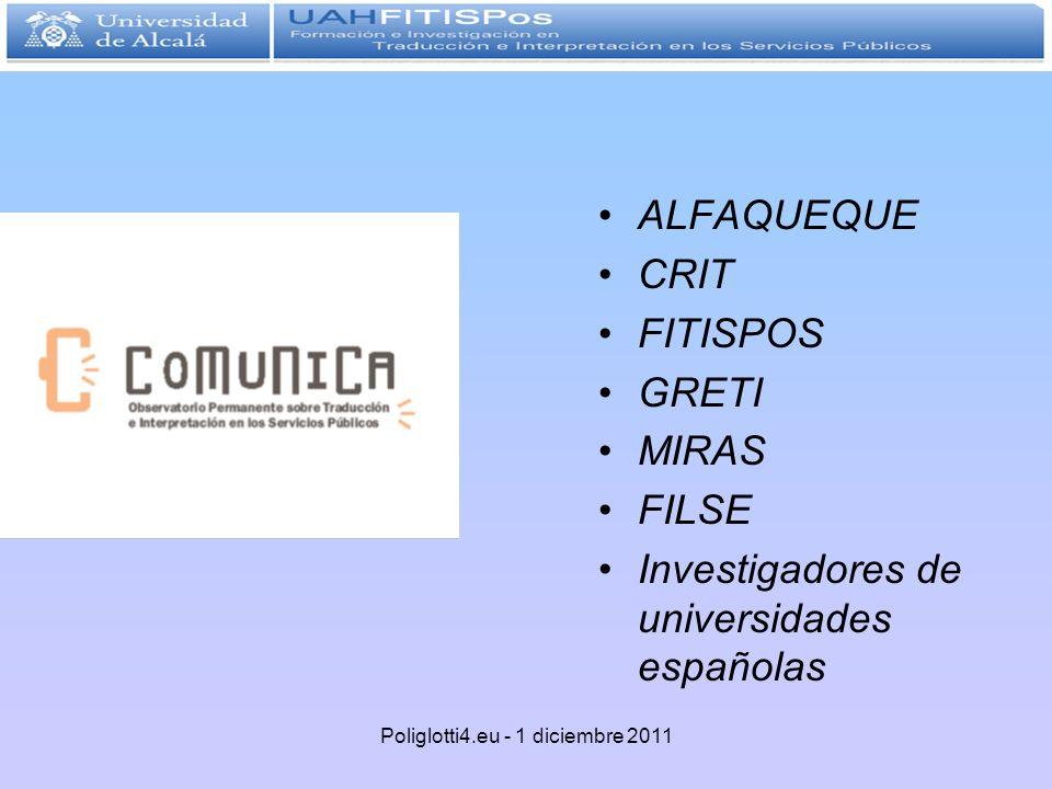 ALFAQUEQUE CRIT FITISPOS GRETI MIRAS FILSE Investigadores de universidades españolas