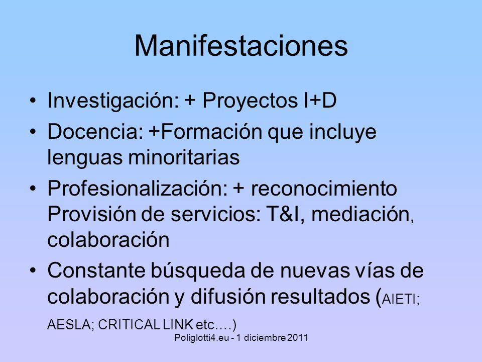 Manifestaciones Investigación: + Proyectos I+D Docencia: +Formación que incluye lenguas minoritarias Profesionalización: + reconocimiento Provisión de