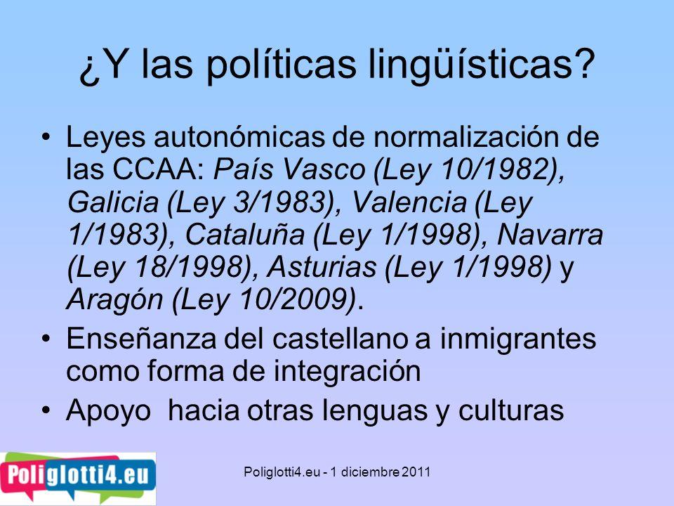 ¿Y las políticas lingüísticas? Leyes autonómicas de normalización de las CCAA: País Vasco (Ley 10/1982), Galicia (Ley 3/1983), Valencia (Ley 1/1983),