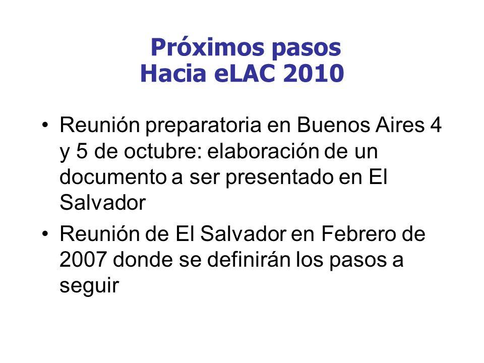 Reunión preparatoria en Buenos Aires 4 y 5 de octubre: elaboración de un documento a ser presentado en El Salvador Reunión de El Salvador en Febrero d