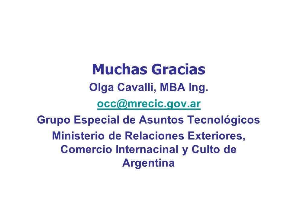Muchas Gracias Olga Cavalli, MBA Ing. occ@mrecic.gov.ar Grupo Especial de Asuntos Tecnológicos Ministerio de Relaciones Exteriores, Comercio Internaci