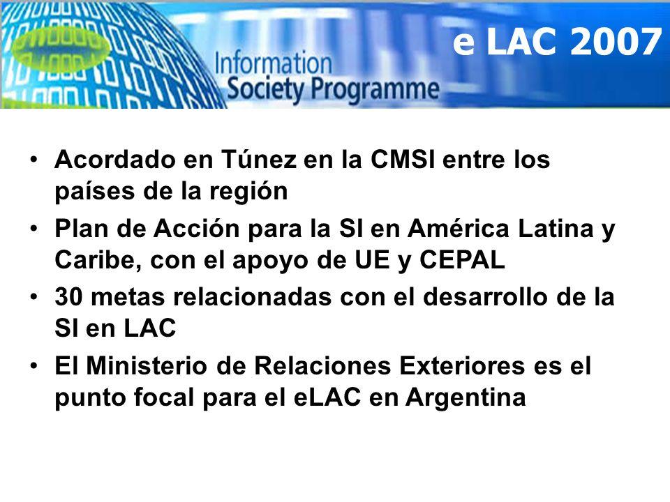e LAC 2007 Acordado en Túnez en la CMSI entre los países de la región Plan de Acción para la SI en América Latina y Caribe, con el apoyo de UE y CEPAL