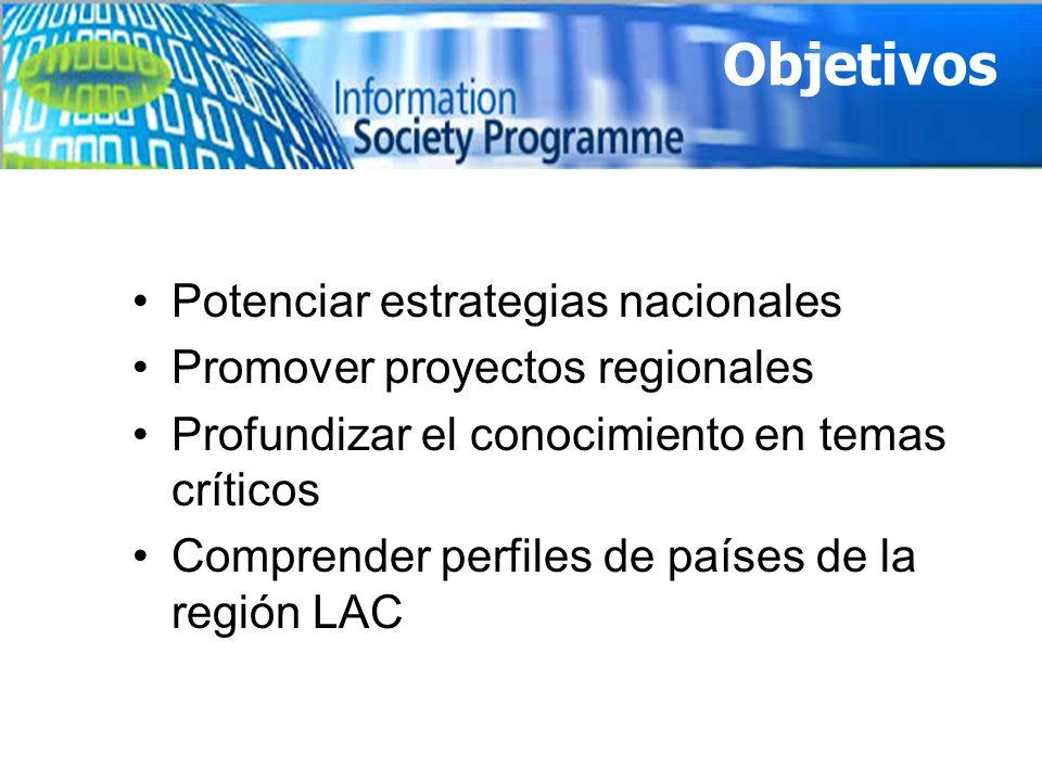Potenciar estrategias nacionales Promover proyectos regionales Profundizar el conocimiento en temas críticos Comprender perfiles de países de la regió