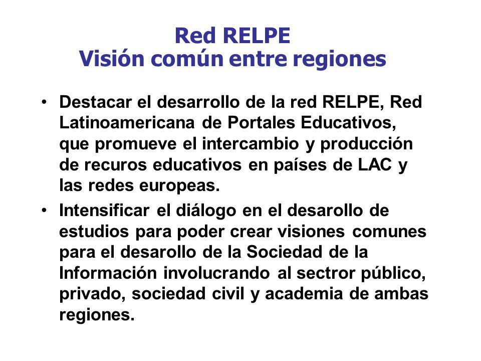 Red RELPE Visión común entre regiones Destacar el desarrollo de la red RELPE, Red Latinoamericana de Portales Educativos, que promueve el intercambio