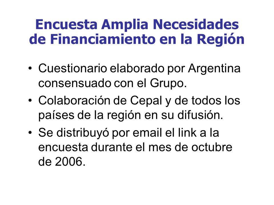 Encuesta Amplia Necesidades de Financiamiento en la Región Cuestionario elaborado por Argentina consensuado con el Grupo. Colaboración de Cepal y de t