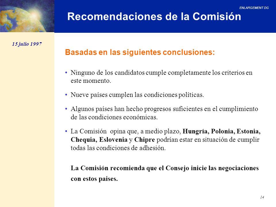 ENLARGEMENT DG 14 Recomendaciones de la Comisión Basadas en las siguientes conclusiones: Ninguno de los candidatos cumple completamente los criterios