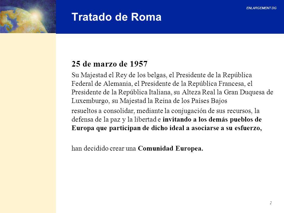 ENLARGEMENT DG 2 Tratado de Roma 25 de marzo de 1957 Su Majestad el Rey de los belgas, el Presidente de la República Federal de Alemania, el President