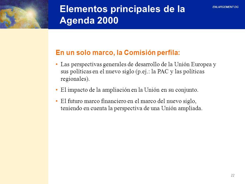 ENLARGEMENT DG 22 Elementos principales de la Agenda 2000 En un solo marco, la Comisión perfila: Las perspectivas generales de desarrollo de la Unión