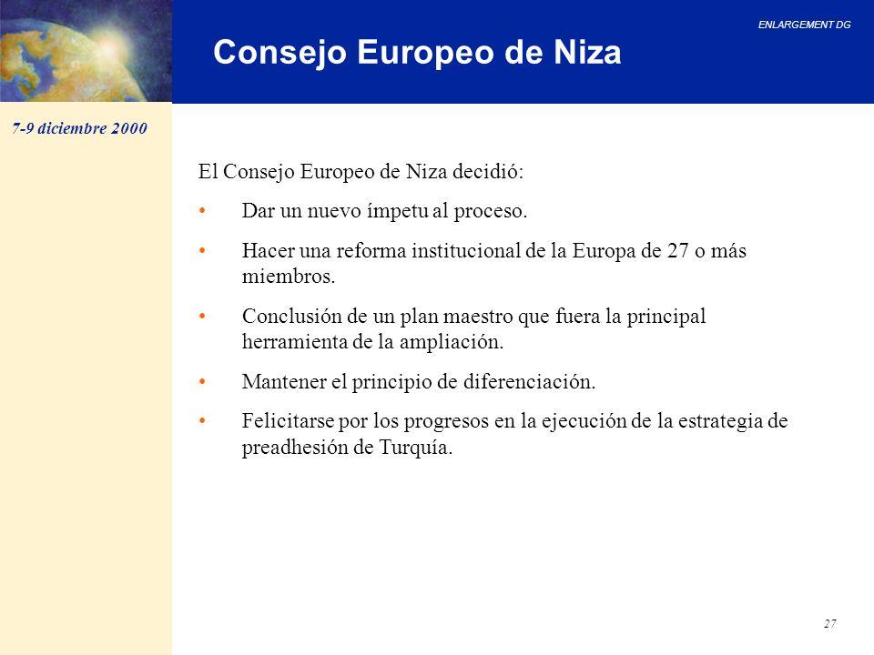 ENLARGEMENT DG 27 Consejo Europeo de Niza El Consejo Europeo de Niza decidió: Dar un nuevo ímpetu al proceso. Hacer una reforma institucional de la Eu