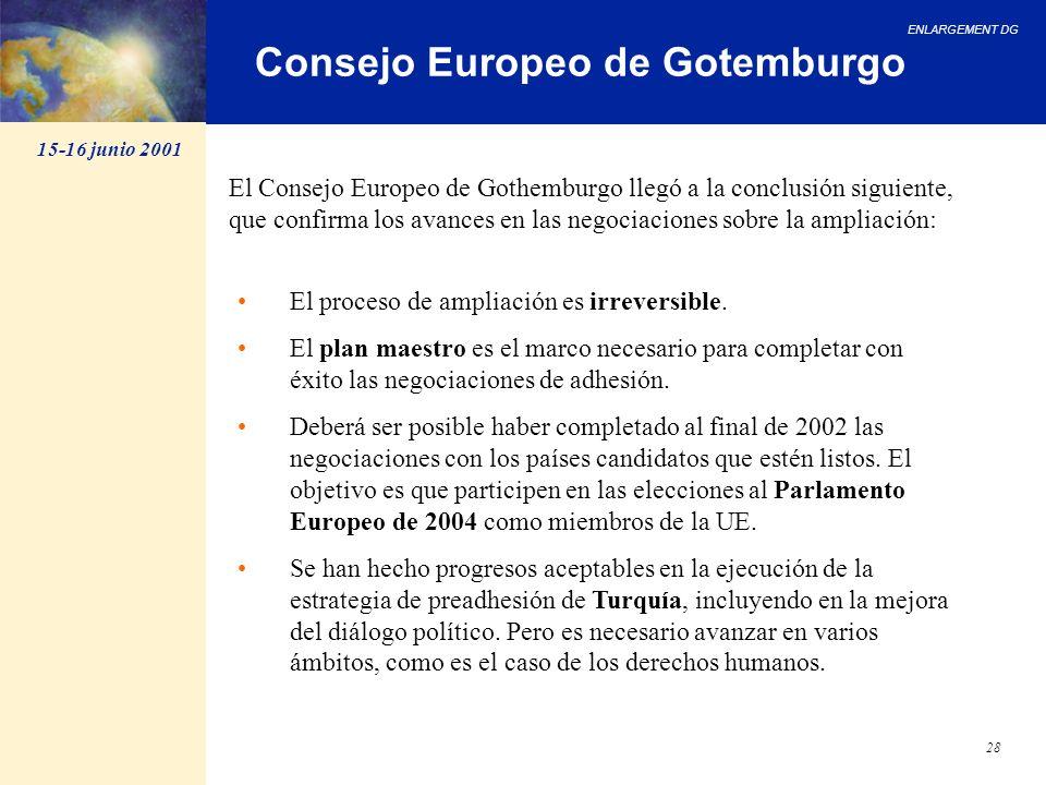 ENLARGEMENT DG 28 Consejo Europeo de Gotemburgo El proceso de ampliación es irreversible. El plan maestro es el marco necesario para completar con éxi