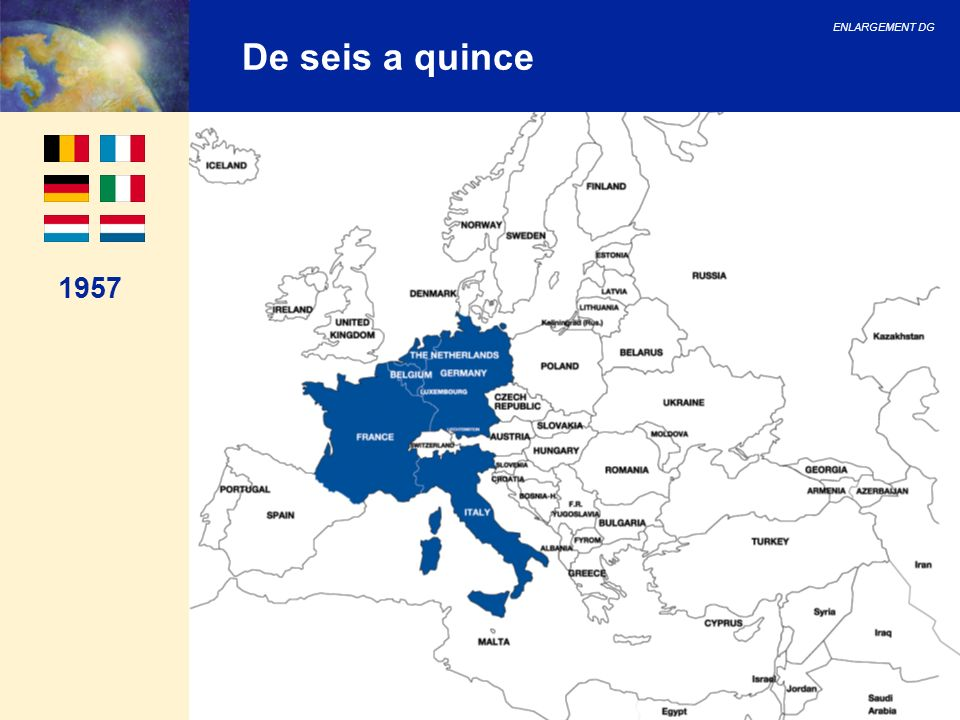 ENLARGEMENT DG 44 Bulgaria, Rumanía y Turquía Siguientes pasos para Bulgaria y Rumanía: 2007: fecha para la conclusión de las negociaciones Detallado plan de trabajo para completar las negociaciones Reforma judicial y administrativa Para Turquía: Cumplimiento del criterio político (aplicación) Reforzamiento del apoyo de la UE Mayor asistencia financiera a partir del 2004