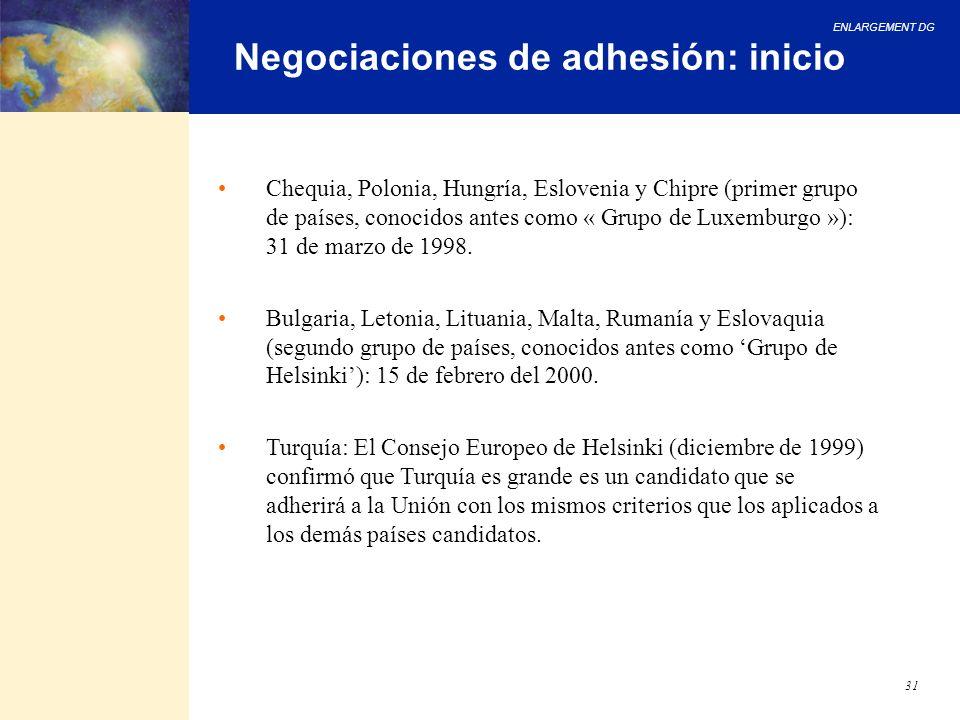 ENLARGEMENT DG 31 Negociaciones de adhesión: inicio Chequia, Polonia, Hungría, Eslovenia y Chipre (primer grupo de países, conocidos antes como « Grup