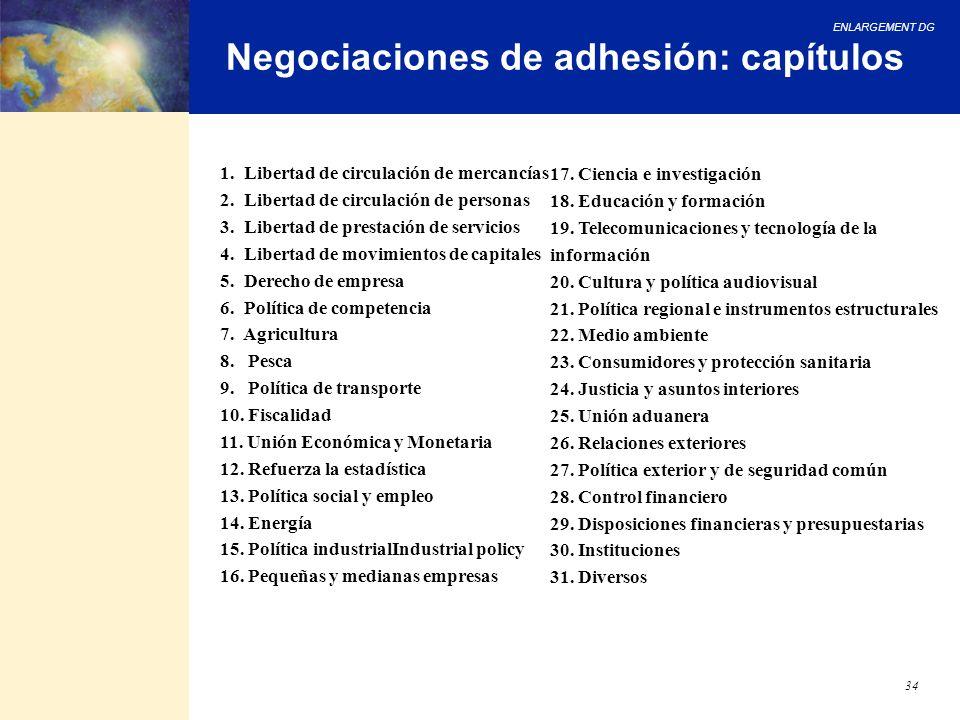 ENLARGEMENT DG 34 Negociaciones de adhesión: capítulos 1. Libertad de circulación de mercancías 2. Libertad de circulación de personas 3. Libertad de