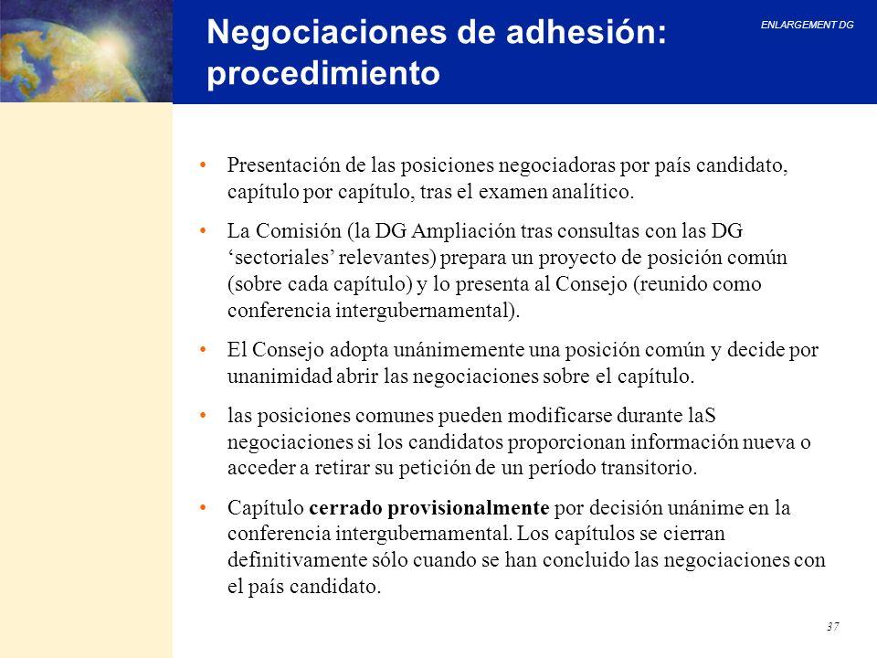 ENLARGEMENT DG 37 Negociaciones de adhesión: procedimiento Presentación de las posiciones negociadoras por país candidato, capítulo por capítulo, tras