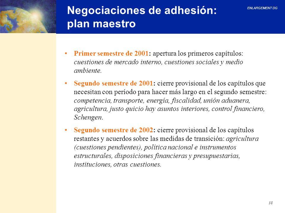ENLARGEMENT DG 38 Negociaciones de adhesión: plan maestro Primer semestre de 2001: apertura los primeros capítulos: cuestiones de mercado interno, cue