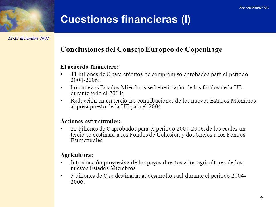 ENLARGEMENT DG 46 Cuestiones financieras (I) Conclusiones del Consejo Europeo de Copenhage El acuerdo financiero: 41 billones de para créditos de comp