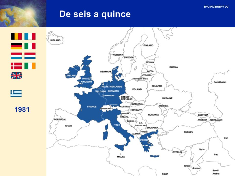 ENLARGEMENT DG 26 Consejo Europeo de Helsinki El Consejo Europeo de Helsinki decidió: 1.Abrir negociaciones oficiales en febrero del 200 con Bulgaria, Letonia, Lituania, Malta, Rumania y Eslovaquia.