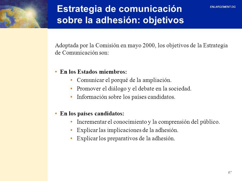 ENLARGEMENT DG 67 Estrategia de comunicación sobre la adhesión: objetivos Adoptada por la Comisión en mayo 2000, los objetivos de la Estrategia de Com