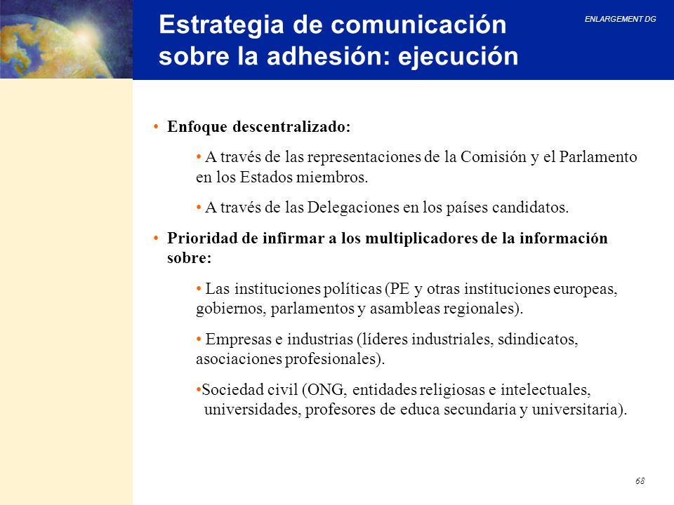 ENLARGEMENT DG 68 Estrategia de comunicación sobre la adhesión: ejecución Enfoque descentralizado: A través de las representaciones de la Comisión y e