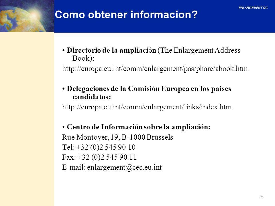 ENLARGEMENT DG 70 Como obtener informacion? Directorio de la ampliación (The Enlargement Address Book): http://europa.eu.int/comm/enlargement/pas/phar