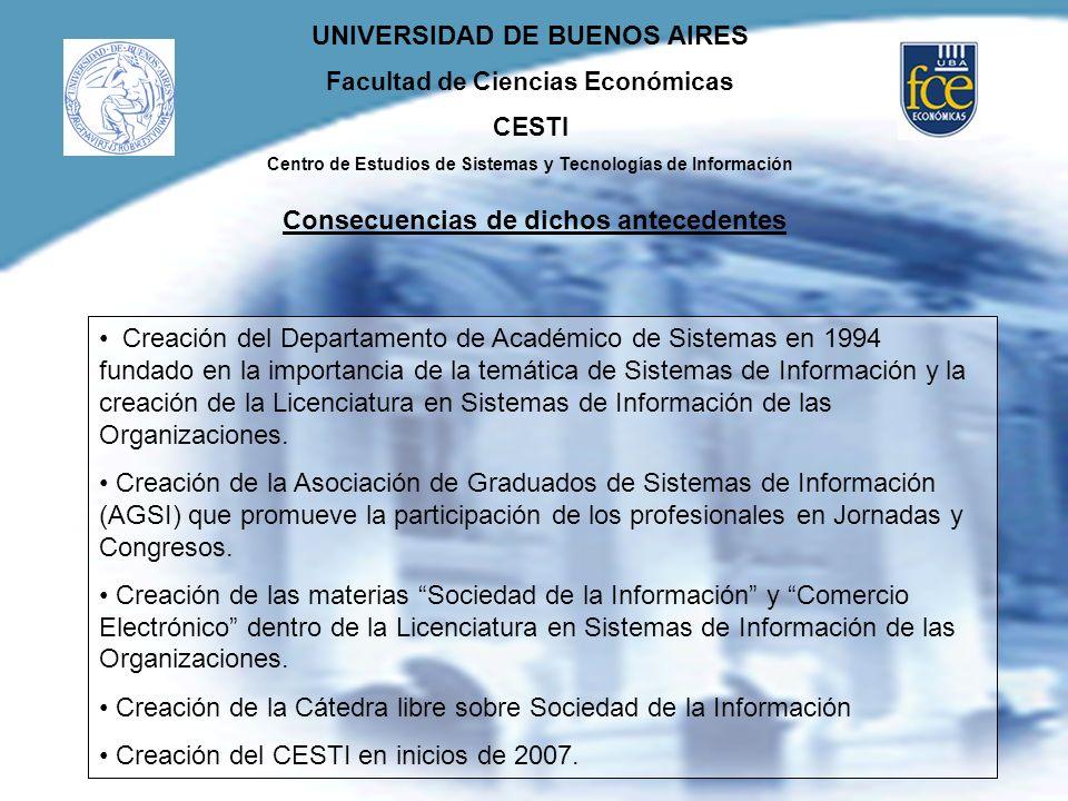 UNIVERSIDAD DE BUENOS AIRES Facultad de Ciencias Económicas CESTI Centro de Estudios de Sistemas y Tecnologías de Información Consecuencias de dichos