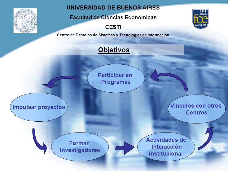UNIVERSIDAD DE BUENOS AIRES Facultad de Ciencias Económicas CESTI Centro de Estudios de Sistemas y Tecnologías de Información Objetivos Impulsar proye