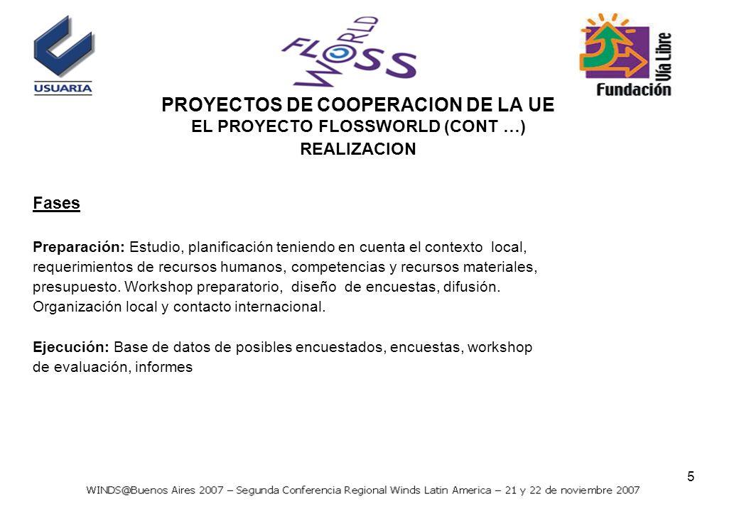 5 Fases Preparación: Estudio, planificación teniendo en cuenta el contexto local, requerimientos de recursos humanos, competencias y recursos materiales, presupuesto.