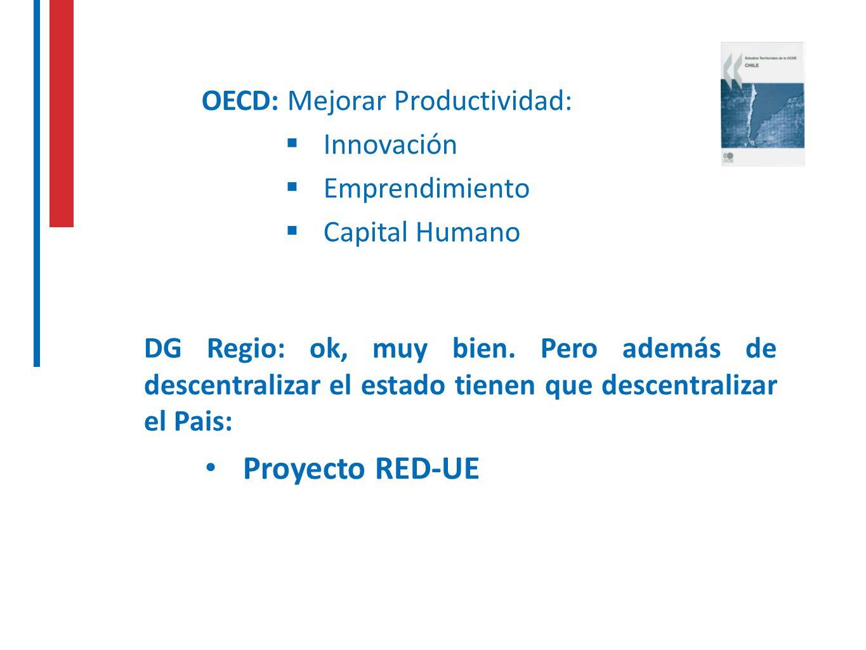 OECD: Mejorar Productividad: Innovación Emprendimiento Capital Humano DG Regio: ok, muy bien. Pero además de descentralizar el estado tienen que desce
