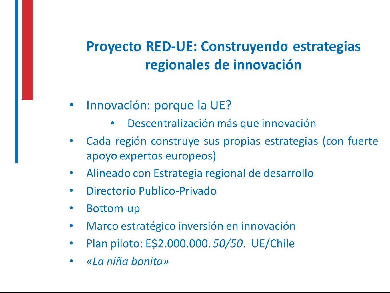 Proyecto RED-UE: Construyendo estrategias regionales de innovación Innovación: porque la UE? Descentralización más que innovación Cada región construy