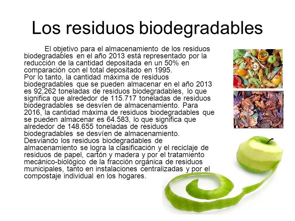 Los residuos biodegradables El objetivo para el almacenamiento de los residuos biodegradables en el año 2013 está representado por la reducción de la