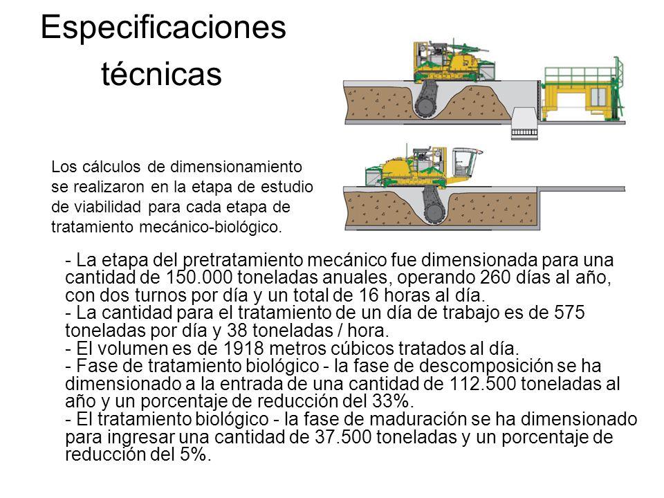 - La etapa del pretratamiento mecánico fue dimensionada para una cantidad de 150.000 toneladas anuales, operando 260 días al año, con dos turnos por d
