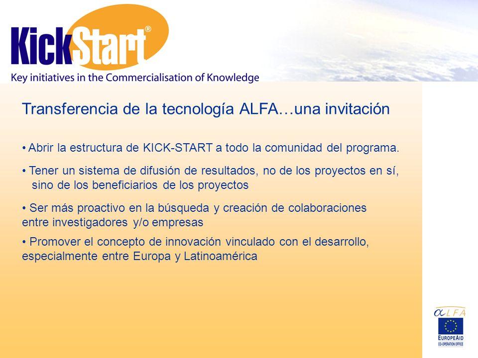 Transferencia de la tecnología ALFA…una invitación Tener un sistema de difusión de resultados, no de los proyectos en sí, sino de los beneficiarios de los proyectos Ser más proactivo en la búsqueda y creación de colaboraciones entre investigadores y/o empresas Promover el concepto de innovación vinculado con el desarrollo, especialmente entre Europa y Latinoamérica Abrir la estructura de KICK-START a todo la comunidad del programa.