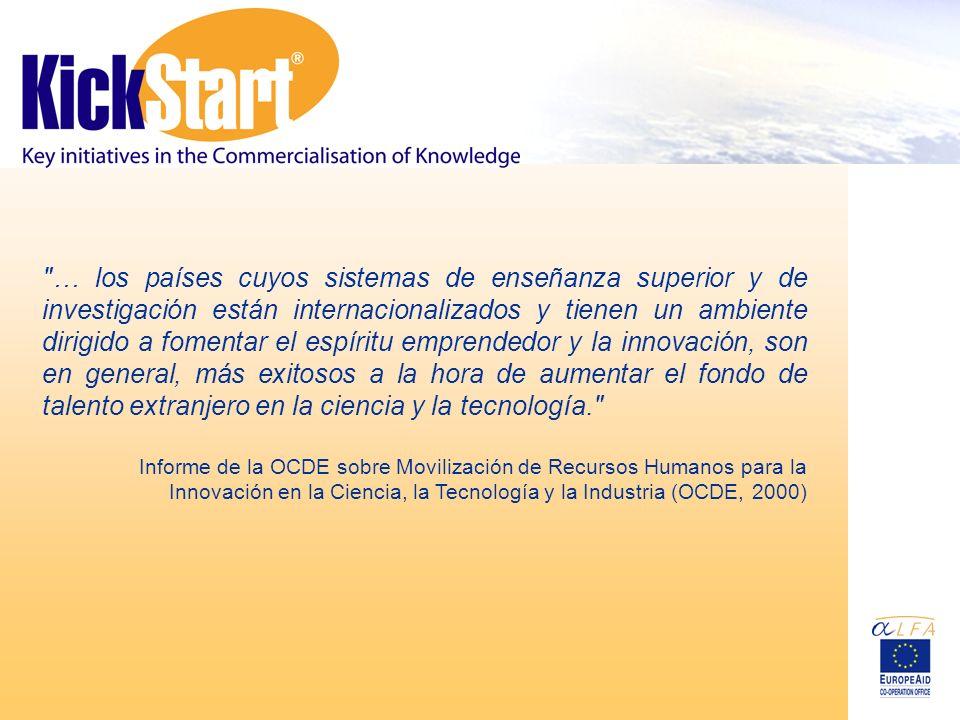… los países cuyos sistemas de enseñanza superior y de investigación están internacionalizados y tienen un ambiente dirigido a fomentar el espíritu emprendedor y la innovación, son en general, más exitosos a la hora de aumentar el fondo de talento extranjero en la ciencia y la tecnología. Informe de la OCDE sobre Movilización de Recursos Humanos para la Innovación en la Ciencia, la Tecnología y la Industria (OCDE, 2000)