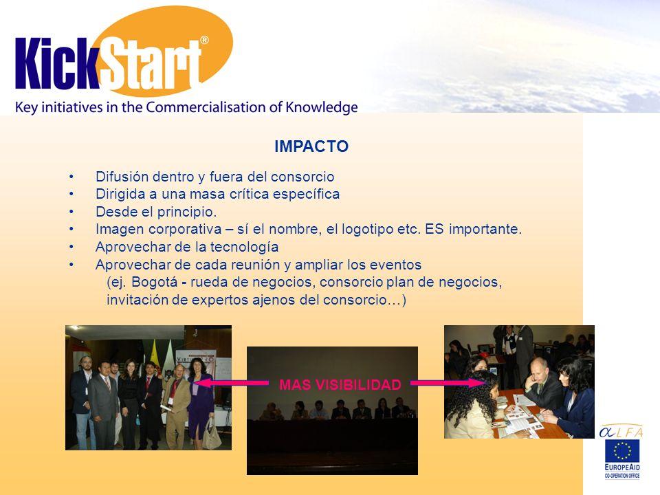 IMPACTO Difusión dentro y fuera del consorcio Dirigida a una masa crítica específica Desde el principio.