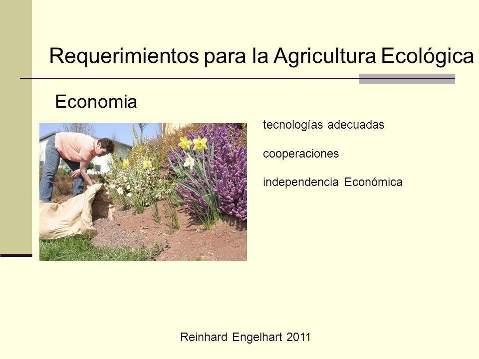 Reinhard Engelhart 2011 Requerimientos para la Agricultura Ecológica Economia tecnologías adecuadas cooperaciones independencia Económica