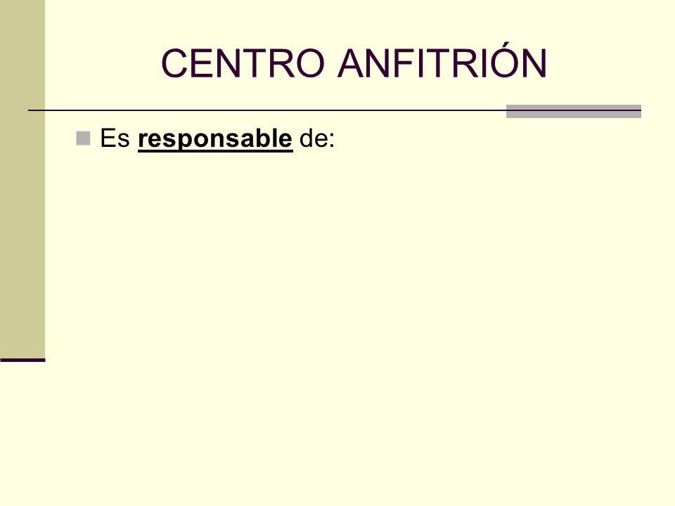 CENTRO ANFITRIÓN Es responsable de: