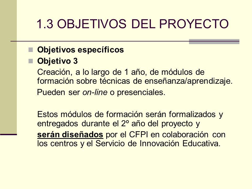 1.3 OBJETIVOS DEL PROYECTO Objetivos específicos Objetivo 3 Creación, a lo largo de 1 año, de módulos de formación sobre técnicas de enseñanza/aprendizaje.