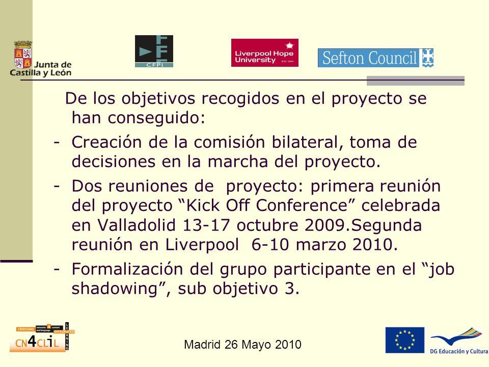 Madrid 26 Mayo 2010 De los objetivos recogidos en el proyecto se han conseguido: -Creación de la comisión bilateral, toma de decisiones en la marcha d