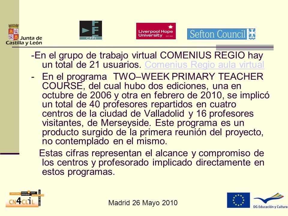 Madrid 26 Mayo 2010 -En el grupo de trabajo virtual COMENIUS REGIO hay un total de 21 usuarios. Comenius Regio aula virtualComenius Regio aula virtual