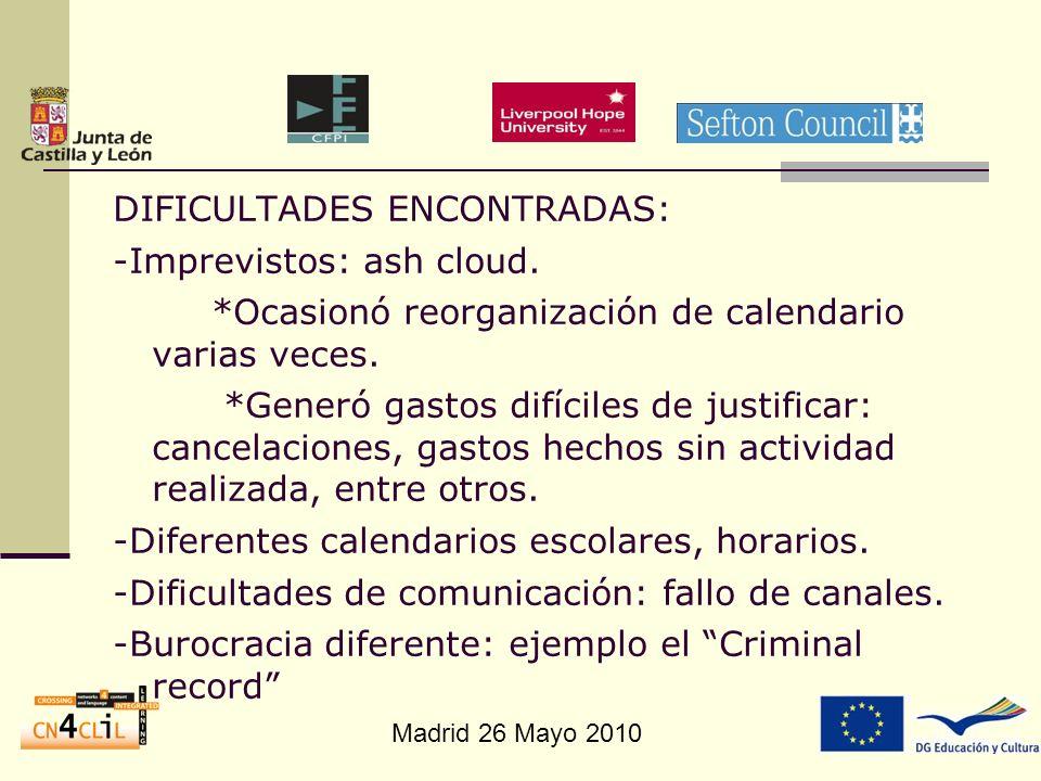 Madrid 26 Mayo 2010 DIFICULTADES ENCONTRADAS: -Imprevistos: ash cloud. *Ocasionó reorganización de calendario varias veces. *Generó gastos difíciles d