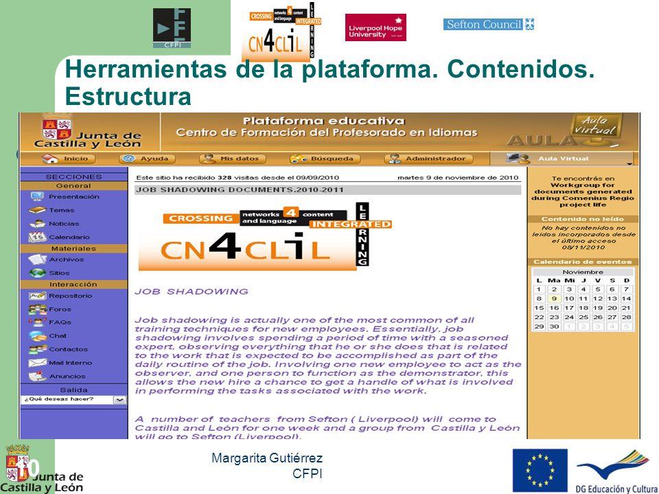Margarita Gutiérrez CFPI 10 Herramientas de la plataforma. Contenidos. Estructura