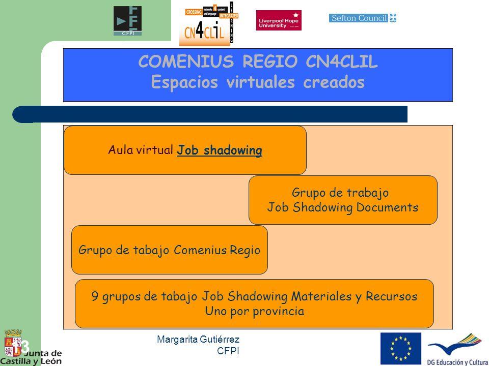 Margarita Gutiérrez CFPI 13 COMENIUS REGIO CN4CLIL Espacios virtuales creados Grupo de tabajo Comenius Regio Grupo de trabajo Job Shadowing Documents