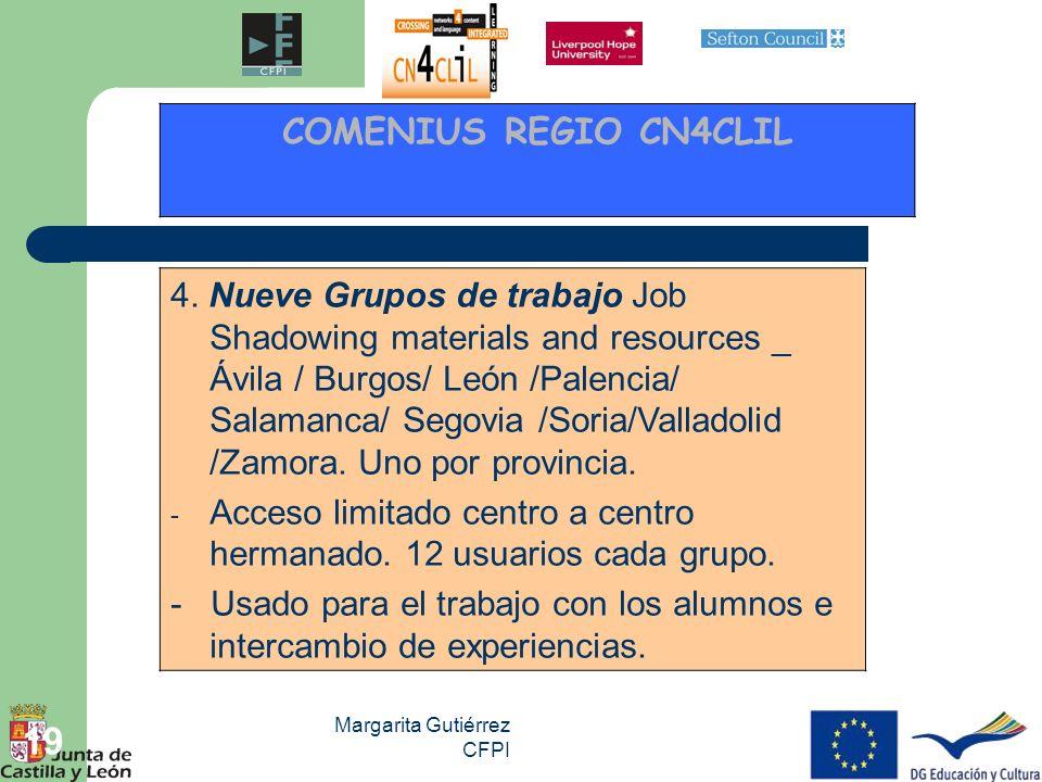 Margarita Gutiérrez CFPI 19 4. Nueve Grupos de trabajo Job Shadowing materials and resources _ Ávila / Burgos/ León /Palencia/ Salamanca/ Segovia /Sor
