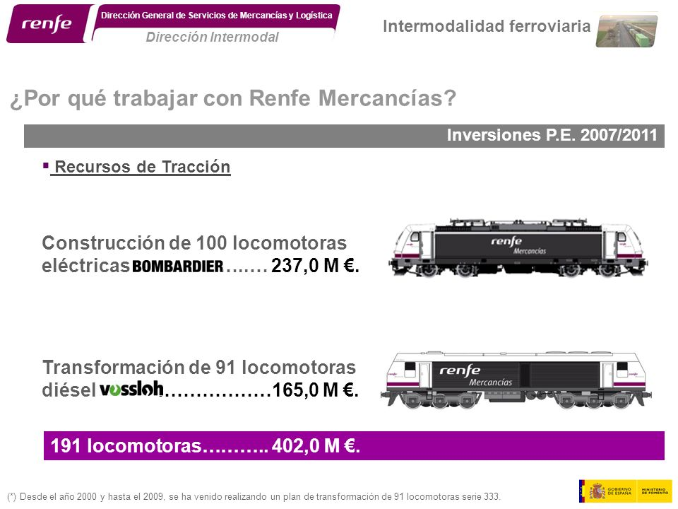 Transformación de 91 locomotoras diésel ………………165,0 M. Construcción de 100 locomotoras eléctricas ………..… 237,0 M. (*) Desde el año 2000 y hasta el 200