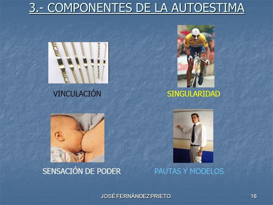 JOSÉ FERNÁNDEZ PRIETO.16 3.- COMPONENTES DE LA AUTOESTIMA VINCULACIÓNSINGULARIDAD SENSACIÓN DE PODERPAUTAS Y MODELOS