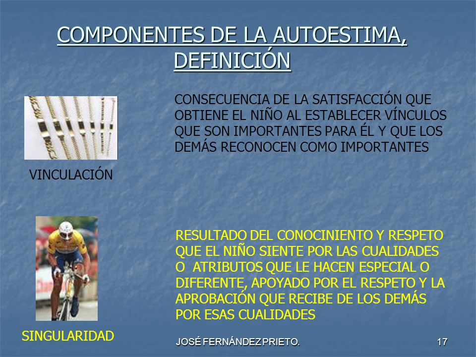 JOSÉ FERNÁNDEZ PRIETO.17 COMPONENTES DE LA AUTOESTIMA, DEFINICIÓN CONSECUENCIA DE LA SATISFACCIÓN QUE OBTIENE EL NIÑO AL ESTABLECER VÍNCULOS QUE SON I