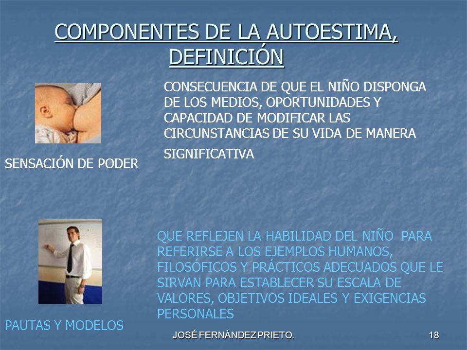 JOSÉ FERNÁNDEZ PRIETO.18 COMPONENTES DE LA AUTOESTIMA, DEFINICIÓN CONSECUENCIA DE QUE EL NIÑO DISPONGA DE LOS MEDIOS, OPORTUNIDADES Y CAPACIDAD DE MOD